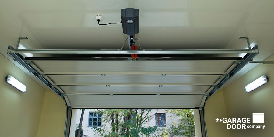 overhead door with opener motor
